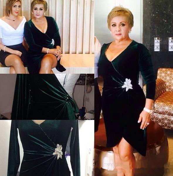 2019 Anne Gelin Elbiseler uzun Kollu v Boyun ile yeşil Kadife Kadınlar Için Zarif Düğün Törenlerinde Gelin elbiselerinin annesi