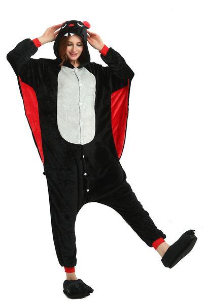 Hooded Black Bat Cartoon Pajamas for Adults Long Sleeves Unisex Home Wear Mascot Costumes Sleep Wear Night Party Wear Warm