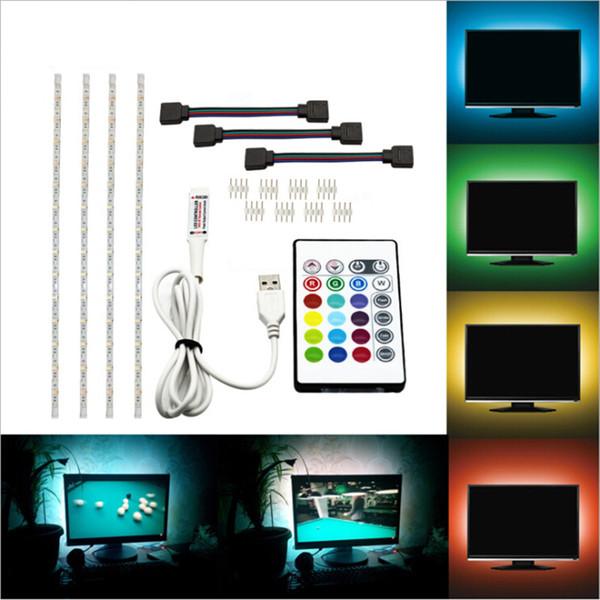 5050 rgb usb led faixa de luz com 24 chave rf luzes da corda remoto tv backlight kit fita luz flexível à prova d 'água levou iluminação de tira