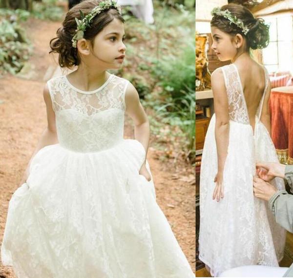 2019 New Beach Flower Girl Dresses Ivory Boho First Communion Dress For Little Girl sheer Neck backless A-Line Cheap Kids Wedding Dress