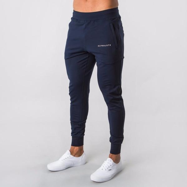2019 new tyle men alphalete jogger weatpant man gym workout fitne cotton trou er male ca ual fa hion kinny track pant t190824, Black