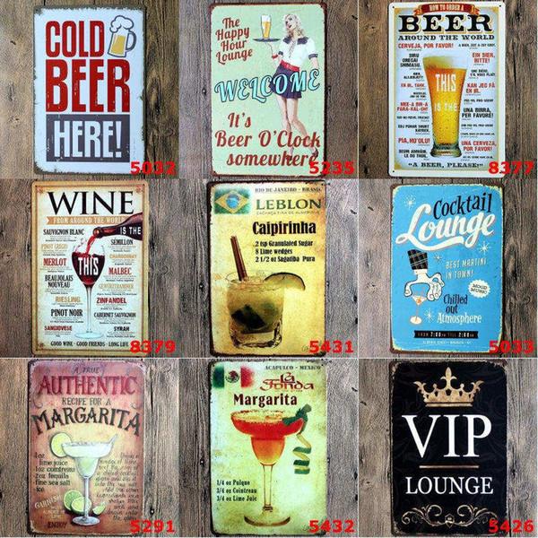 Vintage carteles de chapa de metal para la decoración de la pared Mojito cerveza pinturas de hierro 20 * 30 cm signos de metal hojalata Pub Bar garaje Retro decoración del hogar