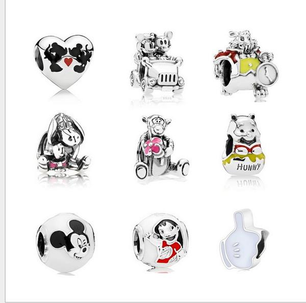 Serve para pandora pulseira de prata esterlina 20 pcs cão urso tigger miki min grânulos encantos diy estilo europeu charme moda diy jóias mulheres presente