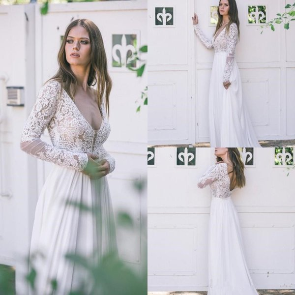 Country Long Sleeves Wedding Dresses Lace Appliqued V Neck Backless Bohemian Bridal Gowns 2019 Chiffon A Line Boho Wedding Dress