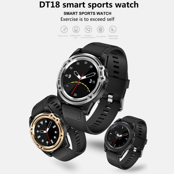 2018 Renkli Ekran Akıllı Bilezik DT18 0.3MP Kamera Uyku Izleme Android iOS için Egzersiz Adım Bilezik Açık Spor Izle
