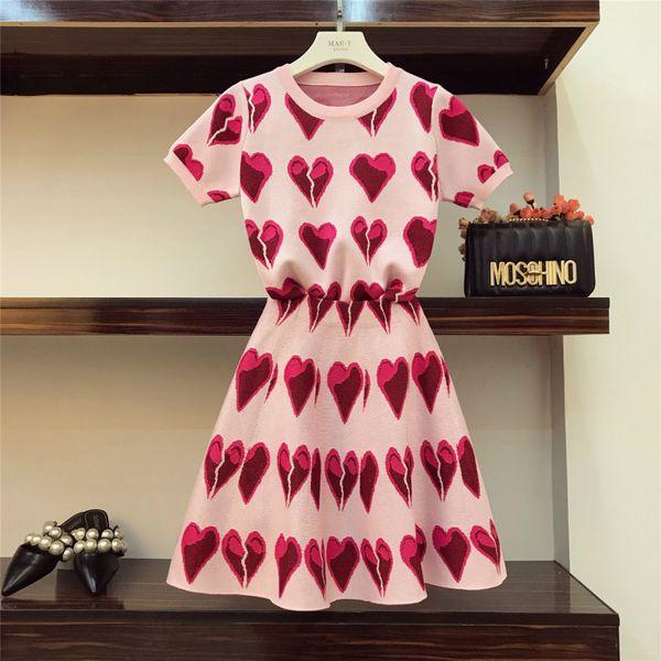 Spring And Summer Fashion Women Hit Color Broken Love Pattern Short Sleeve Knit Tops + High Waist A-line Mini Skirts 2 Piece Set C19040401