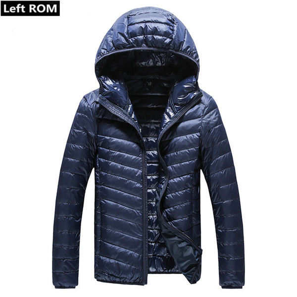 2018 New Winter Warm Thick Slim Casual Mens Hooded Down Jackets / High-grade Male White Duck Feather Down Jacket / Men Down Coat