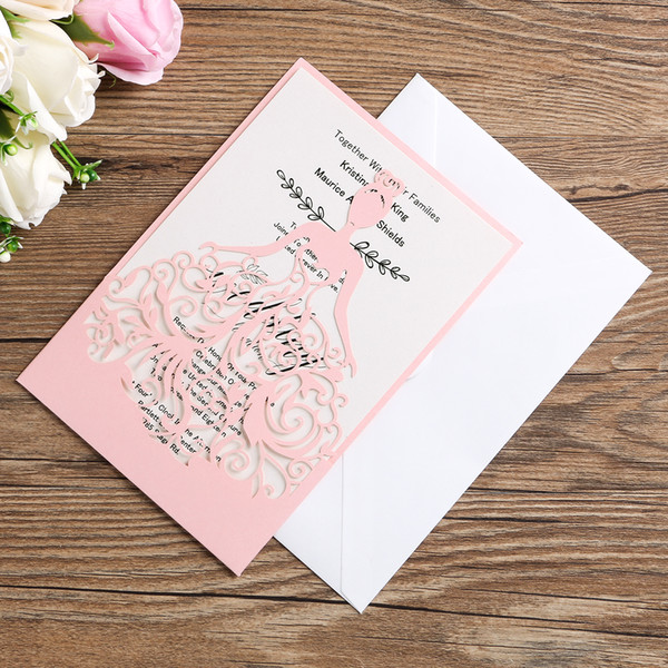 Wedding Invitation Card Bride Elegance Envelope Inner Page Cover Laser Cut Hollow Invitations Cards Pink Cover Homemade Wedding Invitations Indian