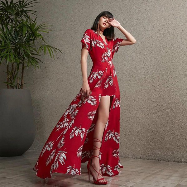 Print Dresses Female V Neck Short Sleeve High Waist Side Split Sexy Dress For Women Fashion Clothes 2019 Summer New