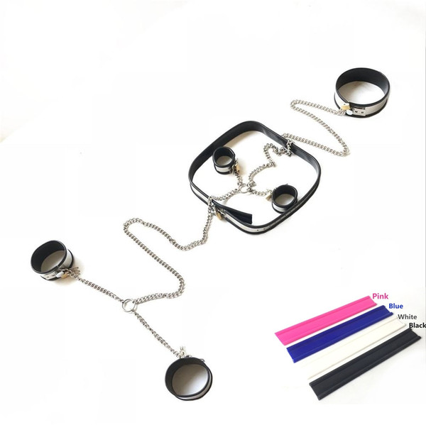 Hot 4 Pieces Sets Stainless Steel Bondage Chain Neck Collar Handcuffs Wrist Cuffs Ankle Cuffs Waistbelt Adults BDSM Sex Toy For Male Female