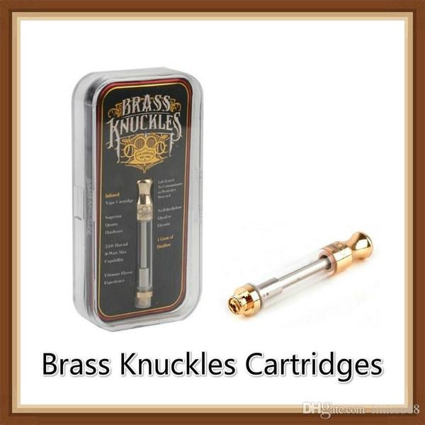 SıCAK Pirinç Knuckles Altın Kartuşları Seramik ve Pamuk Bobin 0.5 ml 1.0 ml Lezzet Çıkartmalar Ile 510 Tankı Atomizer Kalın yağ