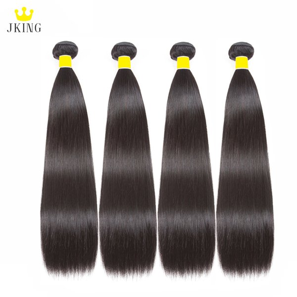 JKING Silky Mongolian Straight Virgin Human Hair 4 Bundles Unprocessed Straight Human Hair Weaves Bundles 100g/pc Natural Color Can be Dyed