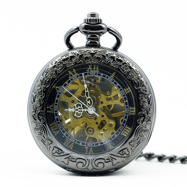 Luxus Coole Herrenmode Uhr Mit Halskette Vintage Steampunk Hand Wind Mechanische Taschenuhr PJX1242