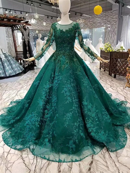 2019 Green Muslim Evening Dresses Lace Long Sleeves O Neck Beads Flowers Ball Gown Women Occasion Dresses China Wholesale Girl Pageant Dress