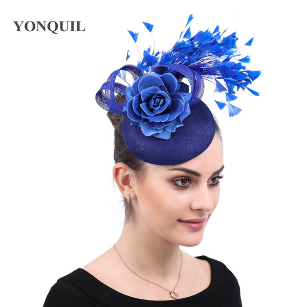 Charming imitation sinamay ladies fascinator wedding hats royal floral with feathers headwear hair clips occasion church event free shipping