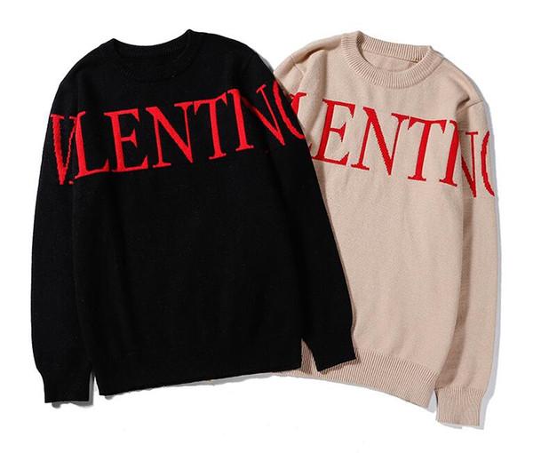 Nuevo suéter manga larga v hombres mujeres logotipo de la letra patrón suéteres de punto chaquetas al aire libre Pareja suéter M-XXL TM