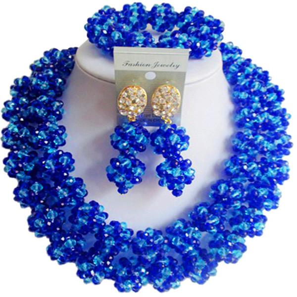 Karakteristik Kraliyet Mavi Mavi Afrika Kadınlar Partisi ve Festivali Akşam Kristal Takı Setleri 2C-SJHQ-23