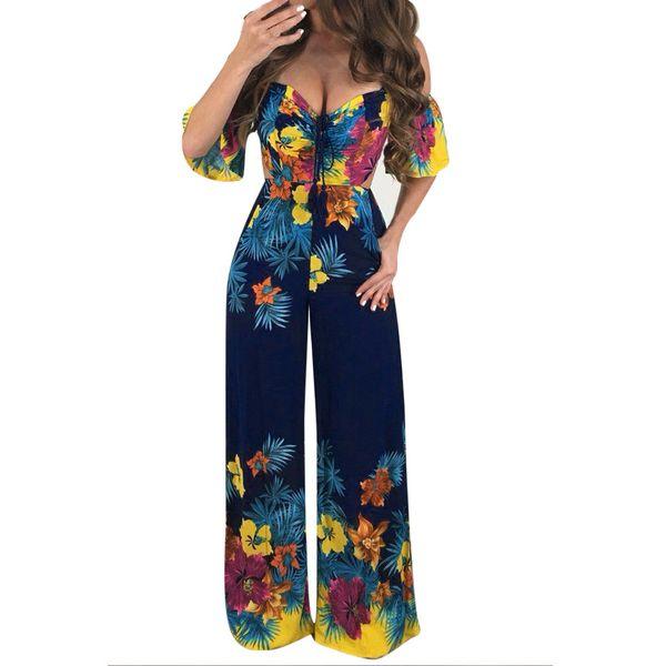 Rompers womens jumpsuit lace long pants Women Sexy Print Off Shoulder Self Tie New Ruffle Half Sleeve Elegant Jumpsuit D300504