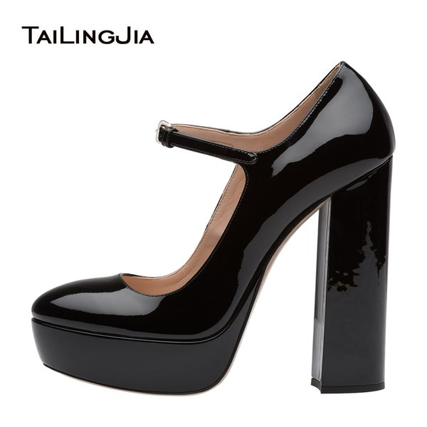 52054cb5af0 Women Patent Black Round Toe Platform Sky High Mary Janes Pumps Ladies  Evening Dress Heels Chunky
