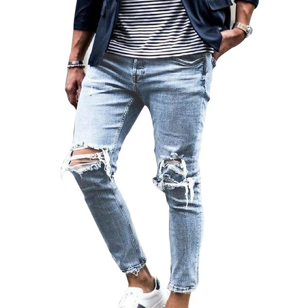 New fashion designer men's feet pants high quality trend casual jeans men and women knee large hole slim jeans