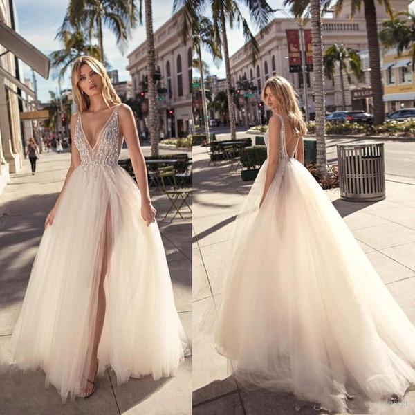 Berta 2019 Sexy Brautkleider Mit V-ausschnitt Tüll Elfenbein Durchsichtig Open Back Lange Split Side Pageant Brautkleider