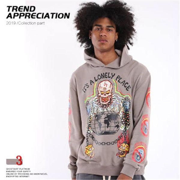 Designer Mens Hiphop Hoodies Trendy Kenye West Skulls Pattern Pullover Luxury Letter LONELY PLACE Mens Clothes Streetwear 2019 New#3