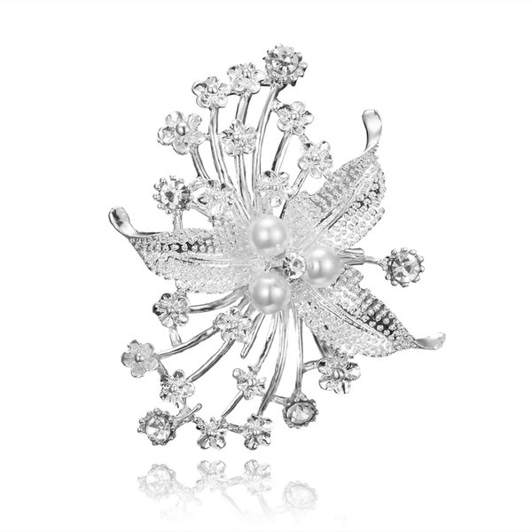 Fashion Flower Brooch Pin Accessories for Wedding New Pearl Pins and Brooches for Women Cute Rhinestone Brooches Badge for Bridal bouquet