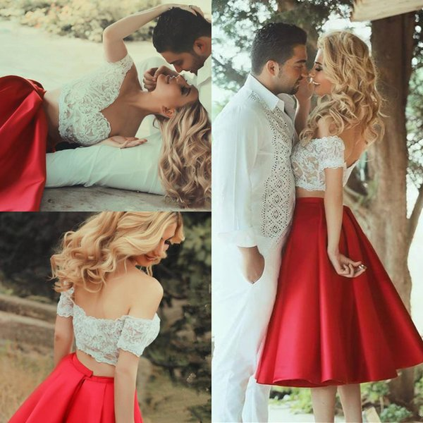 Sexy Two Pieces Short Prom Dresses 2018 Red And White Off Shoulder Appliques Lace Satin Knee Length Homecoming Dress Cocktail Party gowns