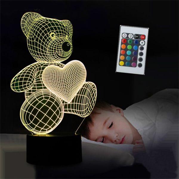 Novo amor dos desenhos animados urso de coração forma candeeiro de mesa usb led 7 cores lâmpada de mesa 3d lâmpada night light kid presente de natal toys