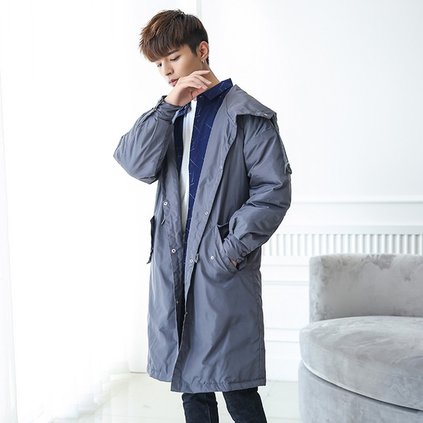 New Mens Coats 2019 Autumn Hooded Trench Coats Men Long Windbreaker Men M-2XL Extra Light Outwear Jackets Man FY15