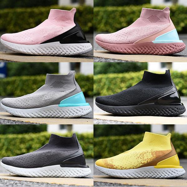 2019 New Rise React Fly Thunder Grey Calcetines y zapatos de color amarillo brillante Aurora Green yellow Style Brand Niños Zapatos para correr