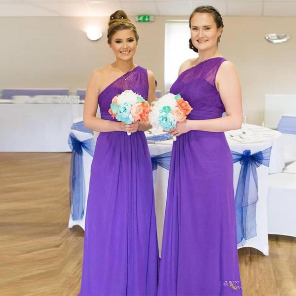 Günstige lila eine Schulter lange Brautjungfer Kleider Lace Top Landhausstil Chiffon Trauzeugin Kleid bodenlangen Hochzeit Kleid