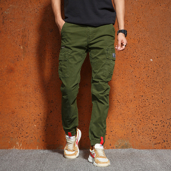 Mens Joggers Pants  Cotton Trousers Multi Pocket Army Green Black Cargo Pants  Style Men Trousers
