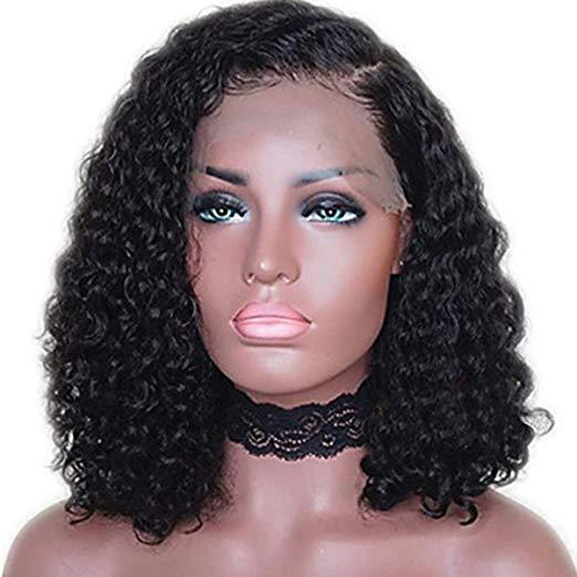 Curly Human Hair bob Lace Front Wig Nature Black Hair with Side Part Wigs (10Inch 130% Density