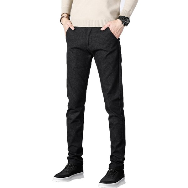 Drawstring Casual Pants Mens 2019 New Regular Business Straight Pants Spring Autumn Cotton Trousers Homme Male Gray Black Blue