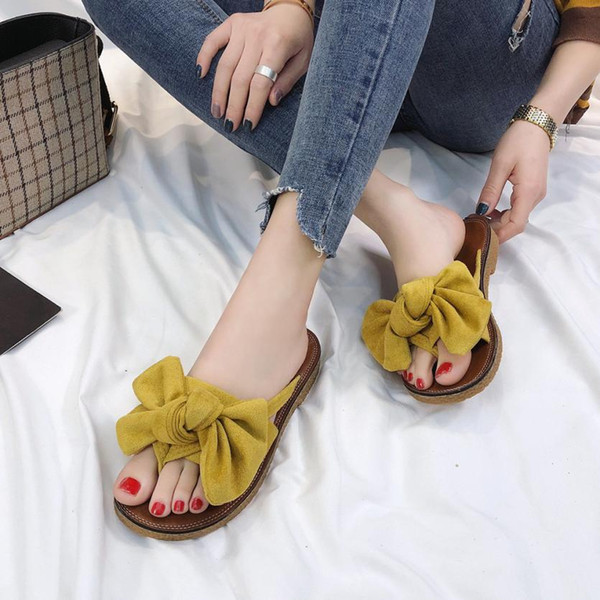 Summer Women Sandals Bow Indoor Slippers Hot Women Shoes Flip Flops Flat Sandals Beach Shoes For Female Slip-on Ladies