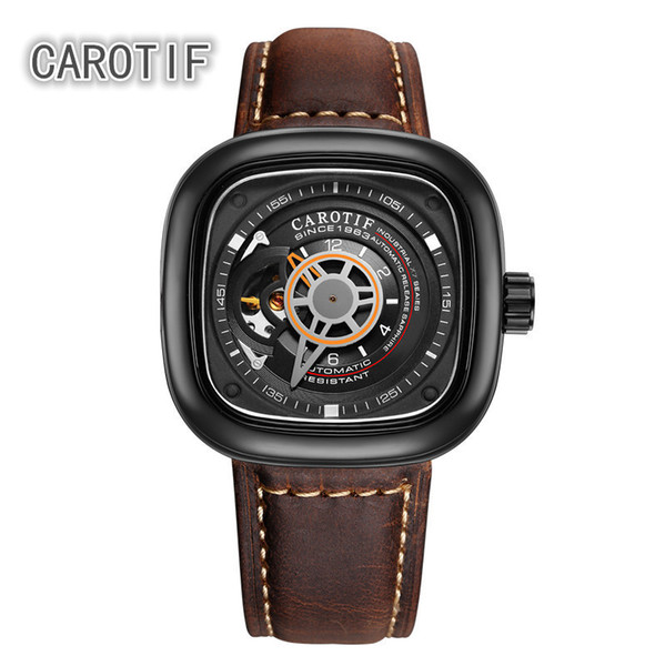 Carotif Auto Mechanical Mens Watches Relogio Masculino Top Brand Luxury Leather Business Watch Erkek Kol Saati Montre Homme J190706