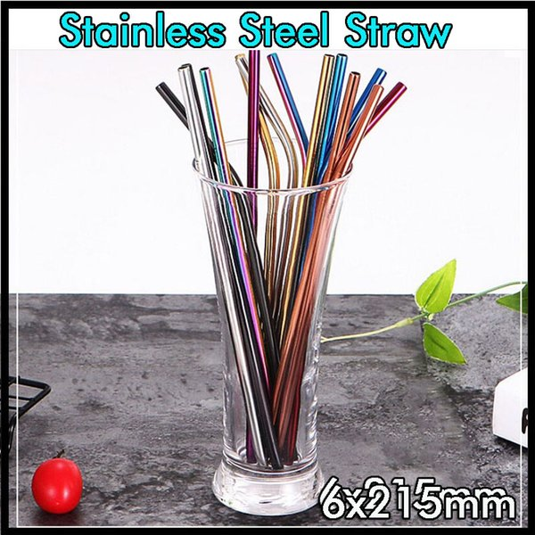top popular Colorful Reusable Metal Drinking Bar Straws Environmental 304 Stainless Steel Straws Healthy for Vacuum Tumbler Mugs Cups Cereals Coffee 2020