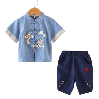Children's Hanfu Chinese ethnic style boy Tang Baobao year old Tang suit Zhou suit costume summer cotton and hemp suit 41