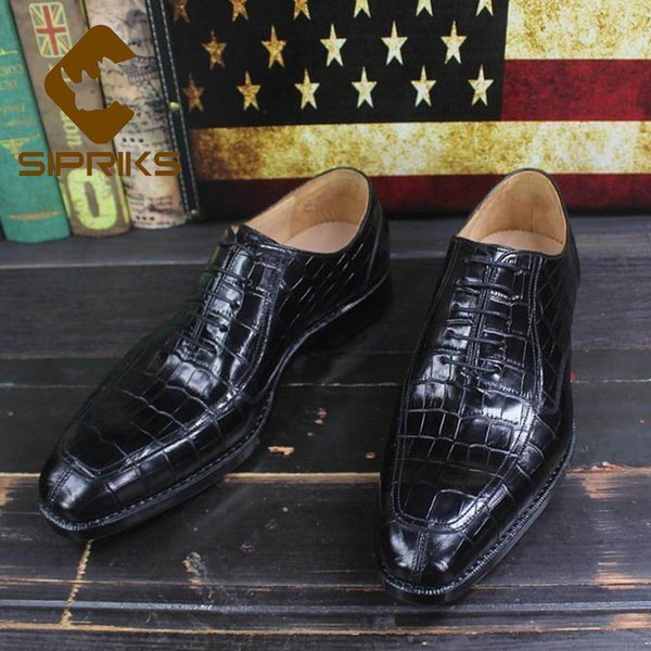 Sipriks Luxury Printed Cow Leather Crocodile Skin Shoes Black Mens Goodyear Welted Dress Shoes Boss Business Office Gents Social
