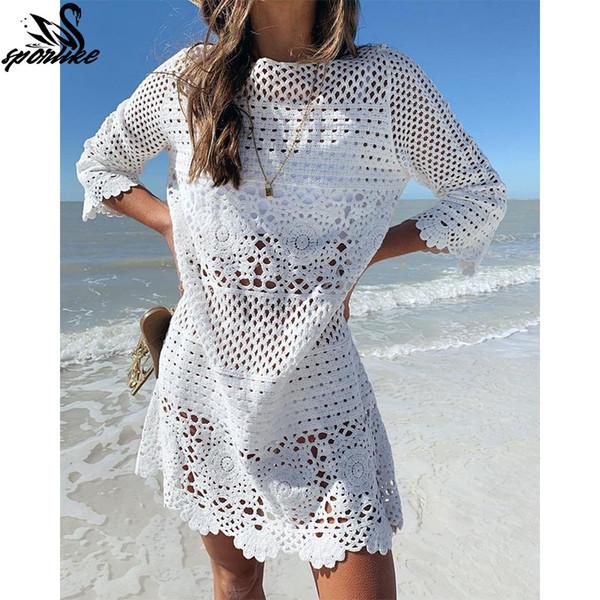 2019 Crochet Malha Praia encobrir vestidos Pareo de Plage Swimsuit encobrir Beach Wear Pareos de Playa Mujer Bikini