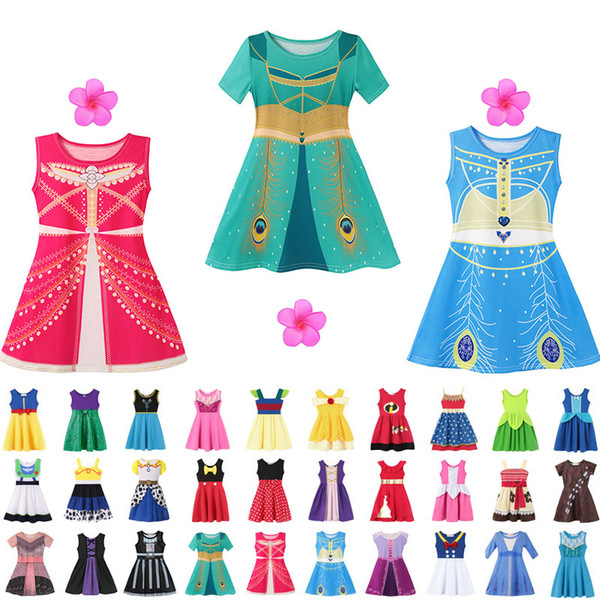 best selling 37 style Little Girls Princess Summer Cartoon Children Kids princess dresses Casual Clothes Kid Trip Frocks Party Costume free ship
