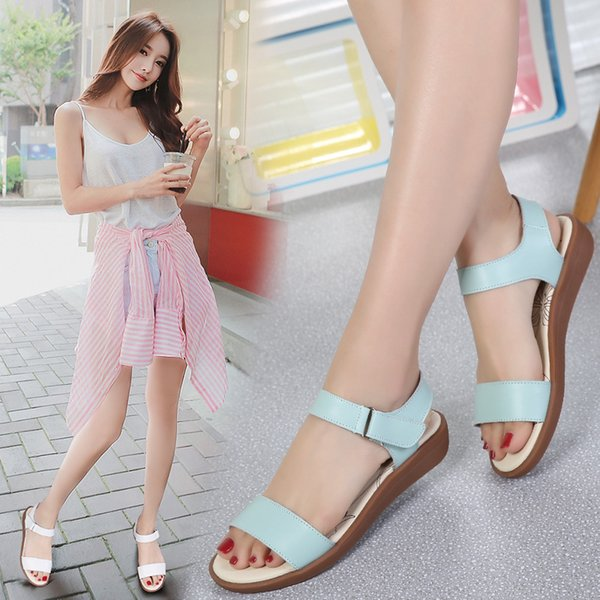 Flatsoled buckled sandals casual leather shoes fashion students womens sandals with ox tendons sole