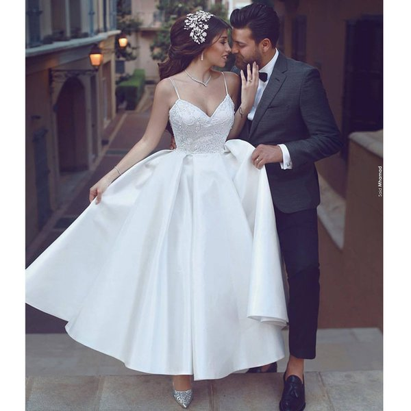 Simple Tea Length Cheap Wedding Dresses 2019 With Spaghetti Straps Satin Ruched Lace Backless Modest Wedding Dress Bridal Gowns New