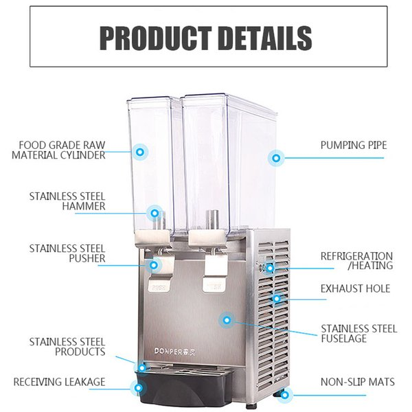 Commercial hot and cold automatic double cylinder cold drink machine self-service hot drink juice machine