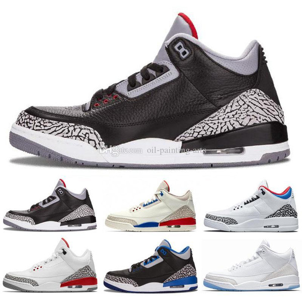 3 International Flight Pure White 3s Men Basketball Casual Shoes Black Cement Fire Red JTH Tinker Blue Grey Casual shoes