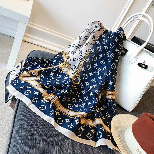 2019 Новый дизайнерский женский шарф Шарф высокого качества, длинные шелковые шарфы Классический цветочный принт, женские шарфы, размер 180x90см A93ff #