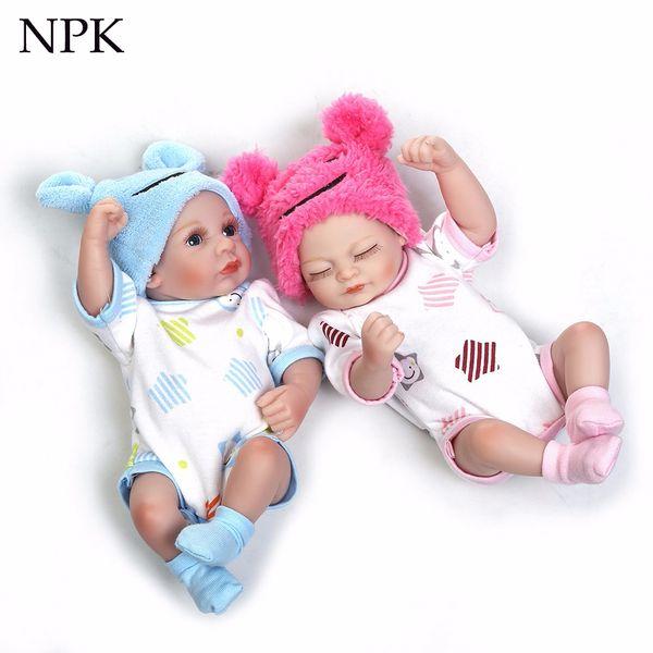 NPK bebe meninos e meninas brinquedo barato slicone reborn bebê bonecas mini gêmeo presente de aniversário Bonecas de natal bebê bonito