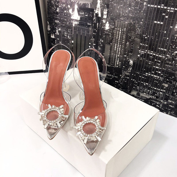 Hot Sale-2019 designer transparent crystal high-heeled shoes leather women pump women high heels, pointed toe golden triangle with wedding