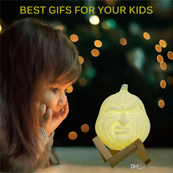 NewUSB LED Magical 3D Printed Table Night Light Face Shape Pumpkin Light RGB Desk Lamp with Remote Control Halloween Decoration Gift